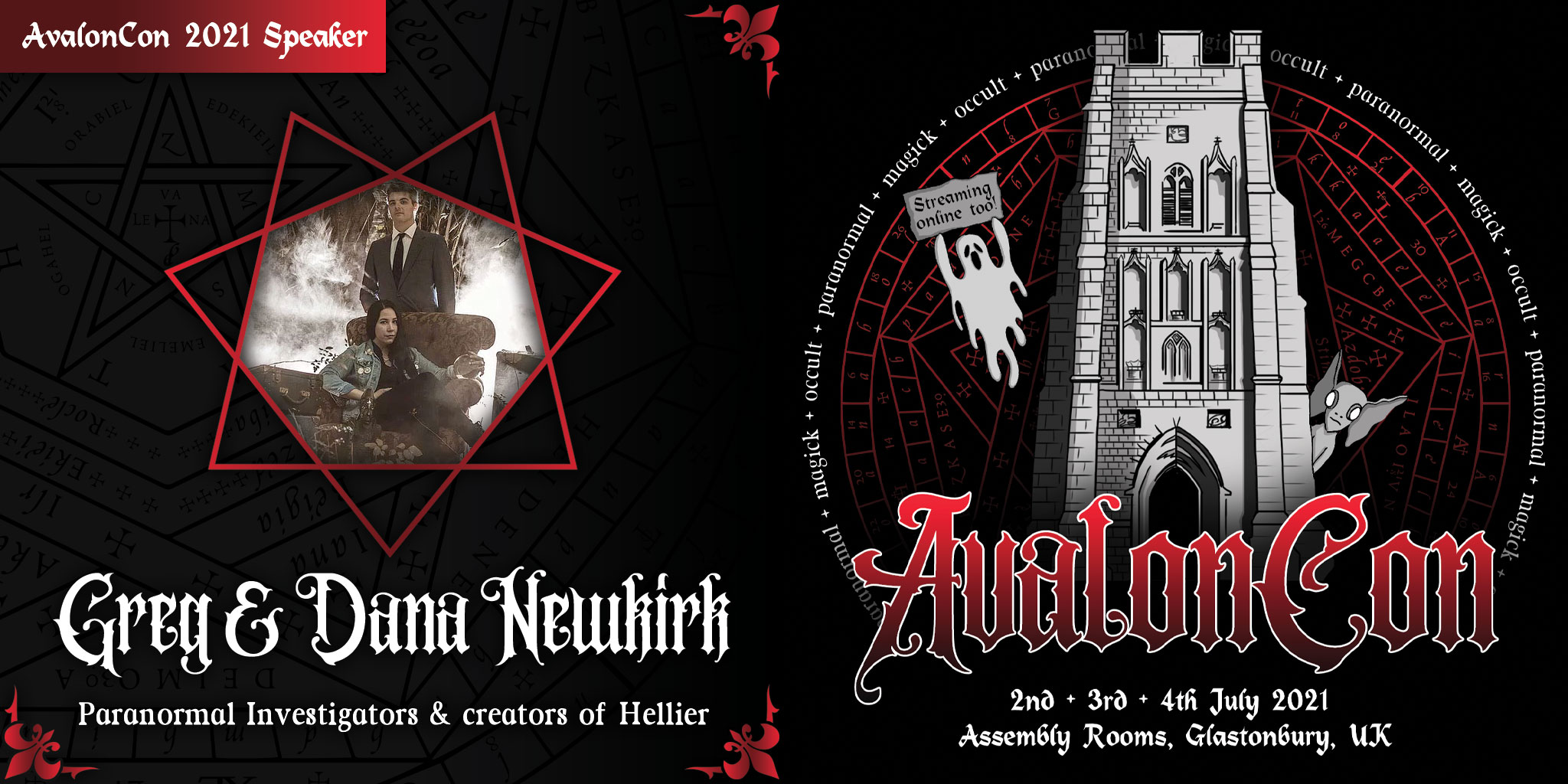 A graphic I designed to announce Damien Echols as a speaker at AvalonCon.