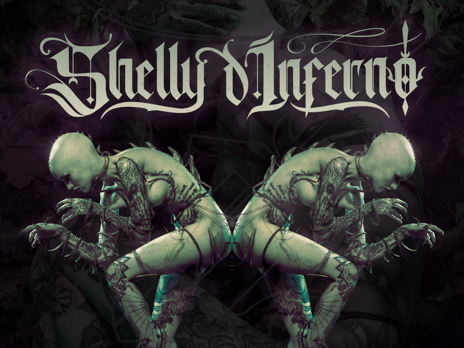 The logo I designed for Shelly d'Inferno laid over a photo of her from an alien-themed photoshoot.