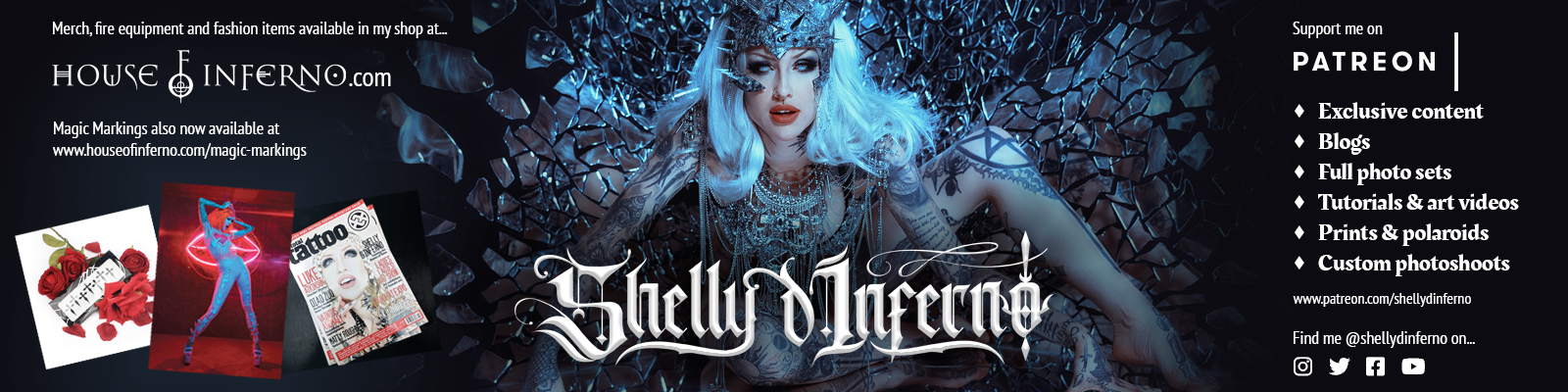 A social media profile banner I designed for Shelly to use on her various platforms.